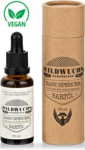 Wildwuchs Bartpflege - Bartöl BART SPENCER Naturkosmetik Beard Oil Bart Oil mit Arganöl und Duft nach Holz...