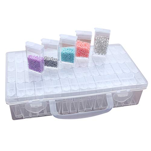 64 Fächer Kunststoff Dosen, Diamant Stickerei Sortierbox in Stabiler Aufbewahrungbox Werkzeugbehälter Schmuck Organizer diamond painting box für Nägel, Strass, Perlen, DIY Handwerk
