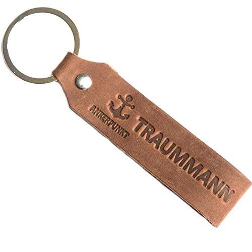 ANKERPUNKT Schlüsselanhänger Leder mit Gravur Traummann - Geschenke für Männer Freund - Geschenkidee zum Geburtstag Jahrestag - Made in Germany (Dunkelbraun) Used Look