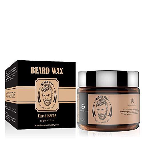 THE MAN COMPANY Bartwachs für Männer – Bart Styling Wachs (50g) – Mit Arganöl und Geranienöl – Feuchtiegkeit, Weich Bart, fördert den Bartwachstums – Natürliche Bartpflege, Parabenfrei