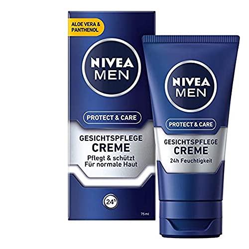 NIVEA MEN Protect & Care Gesichtspflege Creme (75 ml), beruhigende Gesichtscreme für Männer, feuchtigkeitsspendende Tagescreme