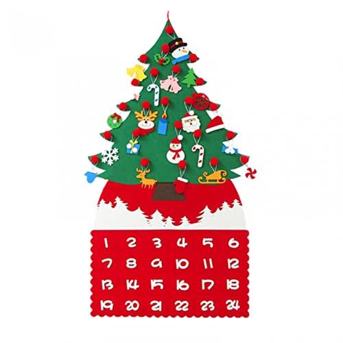 2022 Adventskalender Santa, Weihnachtsmann Adventskalender mit 24 Taschen, Adventskalender, Filz Nikolaus Adventskalender für Indoor Wanddekorationen, Home Deco,Weihnachtsschmuck