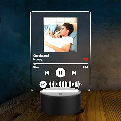 Personalisierte Spotify Code Nachtlampe mit Bild Musikplakette Glas Acryl Gravur Lied Foto Nachtlicht Selbst Gestalten Geschenk für Männer Frauen Freund Kinder Geburtstag Jubiläum Valentinstag
