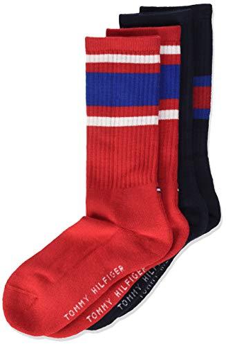 Tommy Hilfiger Unisex Kinder Flag Socken (2er Pack), Midnight Blue, 35/38