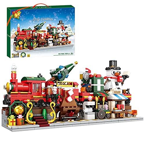 Myste Weihnachten Adventskalender 2021, 838 Teile 1 IN 4 Winter Weihnachtszug mit Lichter-Schneemann Modular DIY Weihnachtsspielzeug Bausteine Kompatibel mit Lego Weihnachten 2021