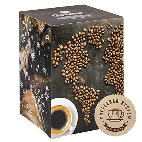 Corasol Premium Kaffee-Weltreise Adventskalender XL 2021 mit 24 Gourmet Röstkaffees aus 24 Ländern im Coffeebag, inkl. Booklet (240 g)