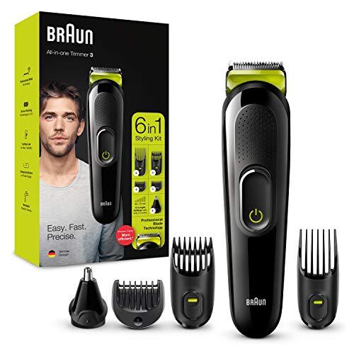 Braun 6-in-1 Multi-Grooming-Kit 3 MGK3221, professionelle Klingen-Technologie, Gesichtshaar- und Barttrimmer,...