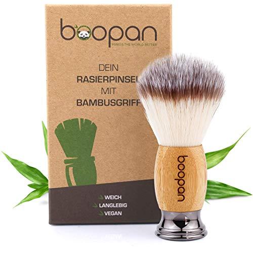 boopan® Premium Rasierpinsel vegan mit Bambus-Holz für Herren und Damen - weich wie Dachshaar - shaving...