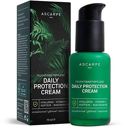 Gesichtspflege für Männer Anti-Aging 'Daily Protection Cream' Hochwertige Naturkosmetik mit Hyaluron - BIO Gesichtscreme gegen Falten von Ascarpe Men - 50ml - MADE IN GERMANY