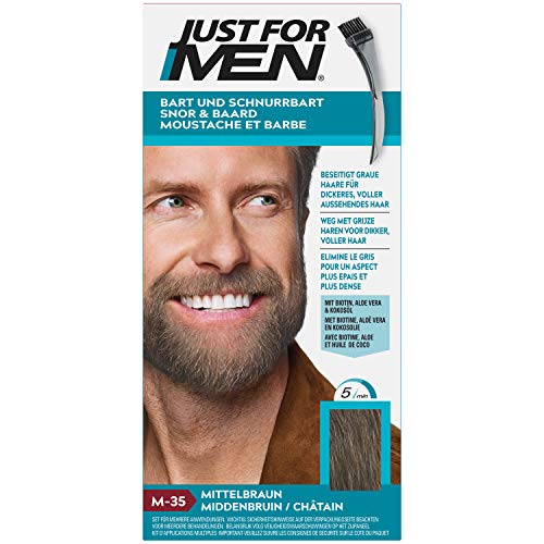 Just for Men Schnurrbart und Bart Mittelbraun Farbstoff, eliminiert Grau für ein dickeres und volleres...
