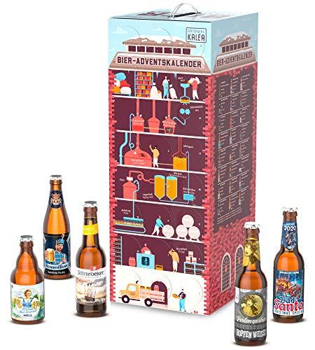 Bier-Adventskalender mit 24 x 0,33 L Flaschen deutsche Bierspezialitäten von Privatbrauereien, Biergeschenk...