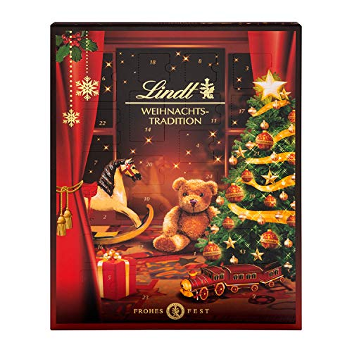 Lindt Weihnachts-Tradition Adventskalender 2021   253 g verschiedene Pralinen- und Schokoladen-Überraschungen   Ideales Schokoladen-Geschenk