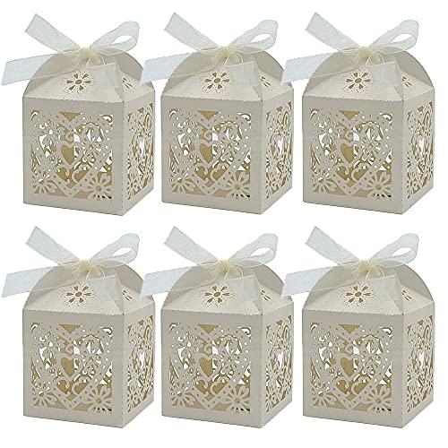 50Pcs Hochzeits-Süßigkeiten-Box, Süßigkeitenschachteln, Hochzeit Geschenkbox, Hohle Geschenkbox, für Hochzeit, Party, Geburtstag, Pralinen, Süßigkeiten