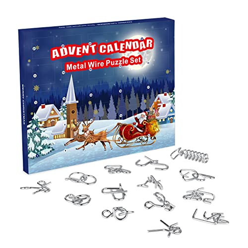 ANYUNKEY Adventskalender 2021, 24 Stück Knobelei aus Metall, Knifflige Metalldraht Puzzle und Spannende Knobeltricks, Weihnachten Geschenk für Kinde Junge Mädchen Teenager Erwachsene