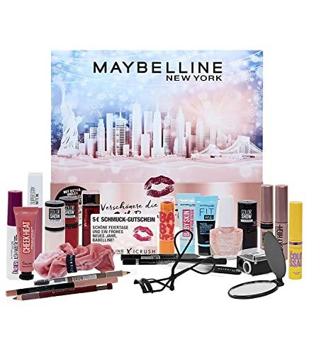 Maybelline New York Adventskalender 2021 24 Beauty Tage Make Up Beauty Kosmetik Kalender, Überraschungen, 24 Türchen, für die Adventszeit,