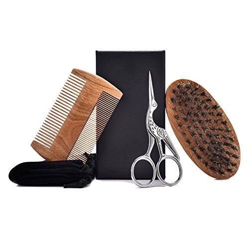 Bartpflege Set für Männer, Wildschweinborsten Bürste, Sandelholz Bartkamm,Bartschere aus Rostfreiem...