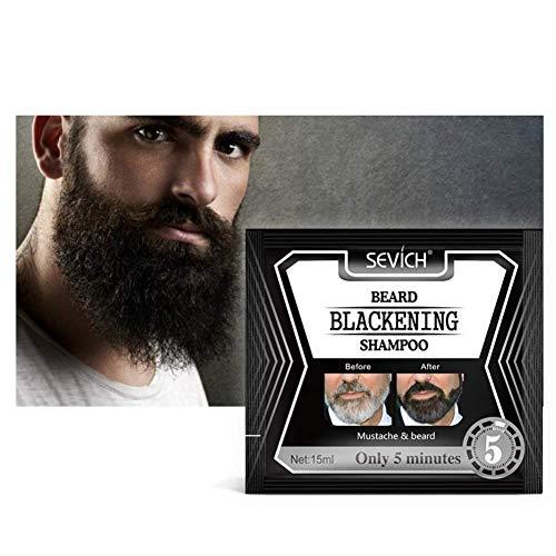 Bartschwärzungsshampoo, botanisches Bartshampoo zum Abdecken grauer Haare, natürlicher schwarzer Bart und feuchtigkeitsspendendes Shampoo (10PCS)