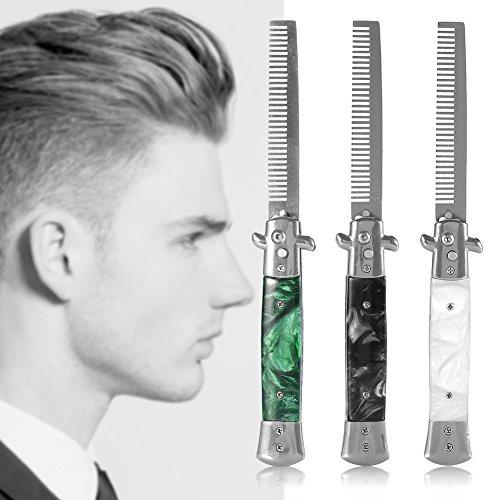 Switchblade Comb, Öl-Haar-Kamm-Metallspring-Sprungbürste-Taschenöl-Haar-Kamm mit den breiten und feinen...