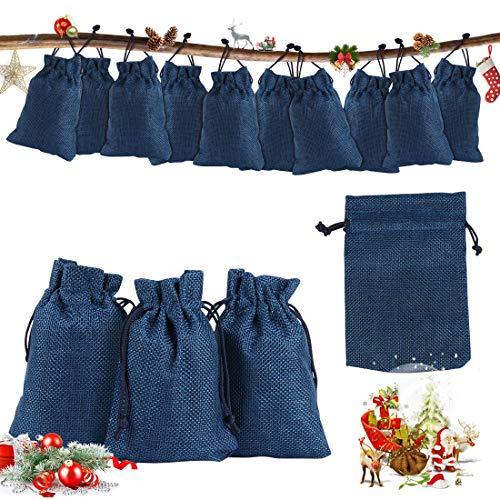 O-Kinee Adventskalender zum Befüllen,24er Set Jutesäckchen,Natur Säckchen,Stoffbeutel,DIY Handwerk,Geschenksäckchen Weihnachten, für Weihnachtskalender DIY, 10cm x 14cm(Blau)