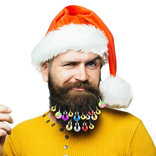 Aitsite 25 Weihnachtsdekorationen, 4 leuchtende Bartdekorationen, 8 Glocken für Santa Bartclip, 12...