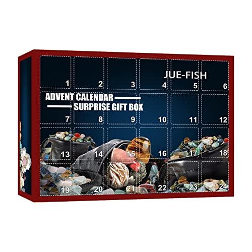 Adventskalender Weihnachten 2021 Kinder Heilkristall Fossilien Spielzeug Rock Collections Pebbles Polished Gravel Weihnachts Countdown Kalender für Kinder Jungen & Mädchen
