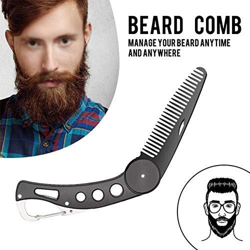 Careor Bartkamm aus Edelstahl, faltbar, für Männer, zum Pflegen & Kämmen von Haaren, Bärten und...