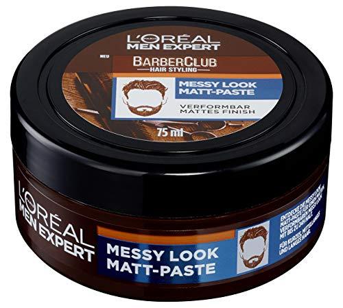 L'oréal Men Expert Barber Club, Messy Look Matt Paste, Mattes Haarwachs Mit Starkem Halt, Verformbar, Flexible Struktur, Haarpaste Für Männer, 75 Ml
