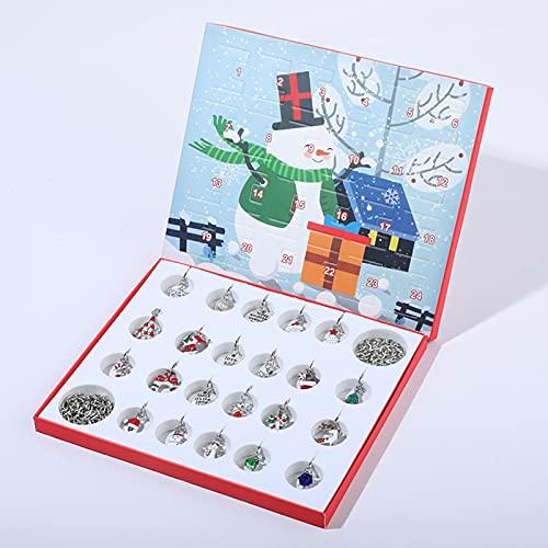 FONDUO Weihnachtskalender Weihnachtsdekor, Adventskalender für Weihnachten Adventskalender 2021 Charme Armband Schmuck Adventskalender für Mädchengeschenke Adventszahlen Aufkleber Bastelset für DIY