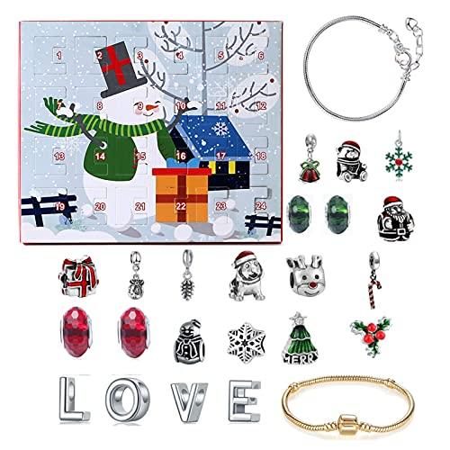 FONDUO Weihnachtskalender Countdown Kalender Weihnachtsdekor Weihnachten Adventskalender 2021 Armband Schmuck Adventskalender für Mädchengeschenke Adventszahlen Aufkleber Bastelset für DIY (B)