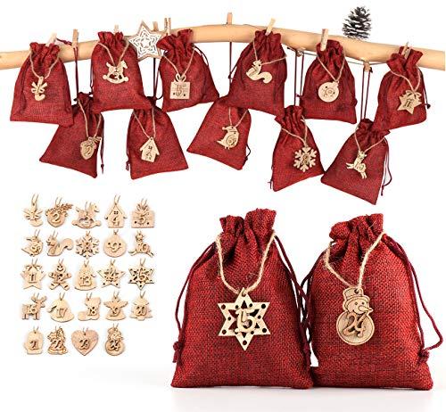 ABSOFINE 24 stück Jutesäckchen mit 24 Adventszahlen Zahlen Holz Deko Holz-Anhänger für Weihnachten Adventskalender Jutebeutel Stoffbeute Geschenksäckchen zum Befüllen(Rot)