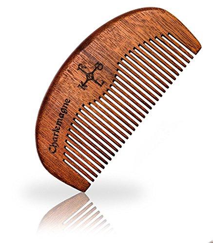 Charlemagne Bartkamm Holz - Bart Kamm Holz antistatisch - Barbershop Beard Comb - Bartkamm klein Barbier...