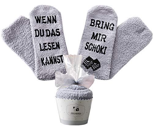 Schokolade Geschenk, Schokolade Socken, Adventskalender Geschenke Frauen, WENN DU DAS LESEN KANNST BRING MIR Schoki, Grau, 36-42