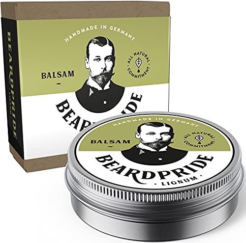 BEARDPRIDE Bartbalsam Männer - Lignum - Das Original Bart Balsam aus dem Barbershop - Unser Beard Balm basiert auf natürliche Sheabutter und Ölen - Bartbalm - Geschenk für Männer - 28g