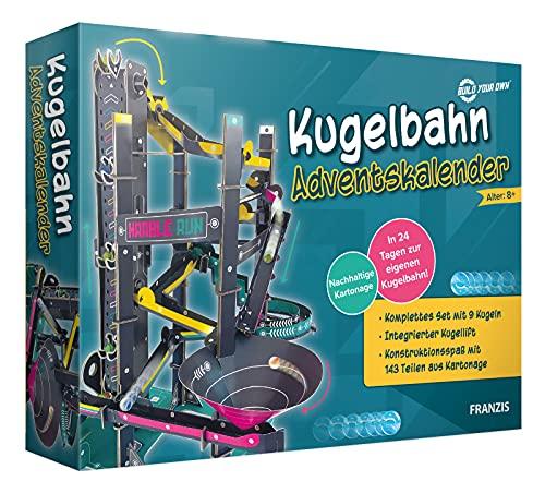FRANZIS 67300 - Kugelbahn Adventskalender, in 24 Tagen zur eigenen Kugelbahn, Bastel-Set aus Kartonage ohne Plastik, empfohlen ab 8 Jahren