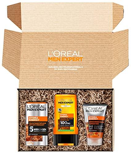 L'Oréal Men Expert Geschenkset für Männer mit Waschgel, Gesichtscreme und XL Duschgel mit Taurin, Energy Box mit Hydra Energy Feuchtigkeitspflege, erfrischendem Reinigungsgel und Bodywash, 3-teilig