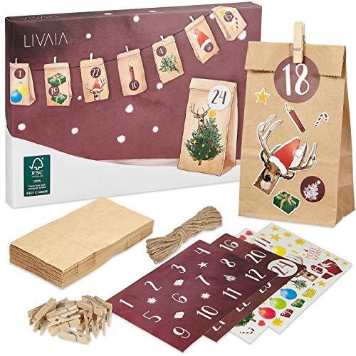 Adventskalender zum Befüllen: Schöner 2021 Adventskalender zum Selbstbefüllen mit 24 Tüten, Stickern und Zahlen Aufkleber – DIY Adventskalender zum Basteln – Adventskalender Selber Befüllen LIVAIA