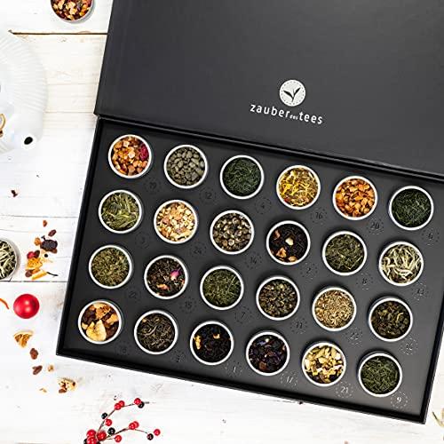 Zauber des Tees   Tee-Adventskalender 2021  Premium Teekalender mit 24 besonderen losen Tees, handgefertigt, in edler Magnet-Klappbox
