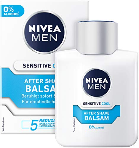 NIVEA MEN Sensitive Cool After Shave Balsam im 1er Pack ( 1 x 100 ml), beruhigendes After Shave, Hautpflege...