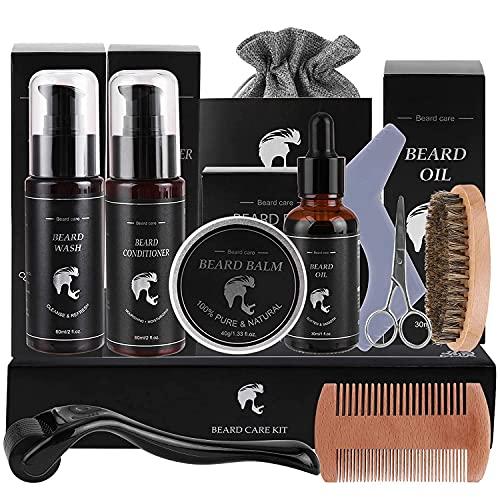 Bartpflege Set für Männer, Bartshampoo, Bartöl, Bartbalsam, Bartbürste, Bartroller, Bartkamm usw, Männer
