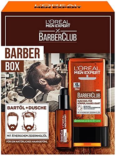L'Oréal Men Expert Bartpflege Set mit Bartöl und Duschgel, Barber Club Herren Geschenkset, Mit ätherischem Zedernholzöl, 1 x 330 ml
