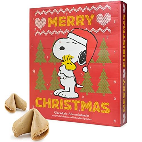 Food Crew Adventskalender 2021 Glückskekse Peanuts Snoopy und Freunde - 24 liebevolle Sprüche als Adventsgeschenk - Made in Germany