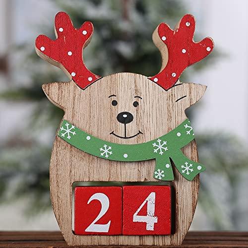 LOHOX Adventskalender Zum Befüllen Weihnachtskalender Tisch Dauerkalender Weihnachtskalender Würfel Holz Bürokalender Weihnachten Deko, Nikolaus und Rentier