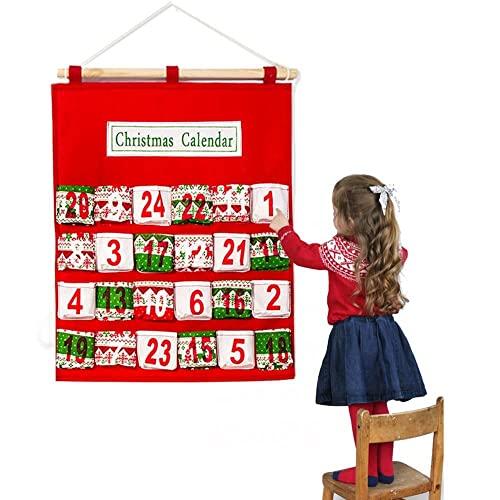 LOHOX Adventskalender Zum Befüllen, Filz Weihnachtskalender mit 24 Taschen Ornamente als Geschenk-Kalender für Kinder Mädchen Männer Erwachsene - 40.5X52CM