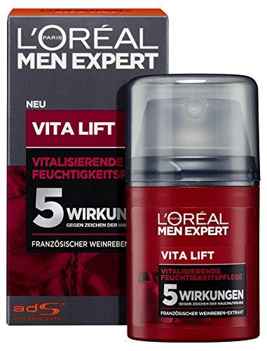 L'Oréal Men Expert Gesichtspflege gegen Falten, Anti-Aging Feuchtigkeitscreme für Männer, Sofortiger Anti-Augenringe- und Anti-Falten-Effekt, Vita Lift Feuchtigkeitspflege, 1 x 50 ml