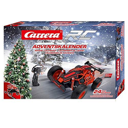 Carrera RC Adventskalender 2,4 GHz Buggy, Rot │Ferngesteuertes Auto aus 24 Bauteilen bauen │Elektro-Mini-Car zum Mitnehmen inkl. Fernbedienung │Weihnachtskalender für Kinder ab 12 Jahren & Erwachsene