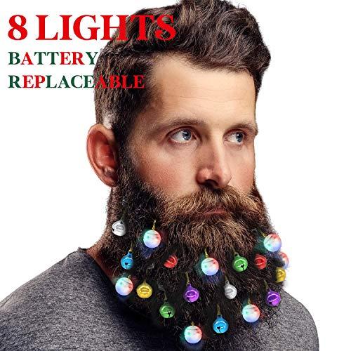 DecoTiny Beleuchtung Bartschmuck, 8 Stück Bart-Leuchten und 12 Stück bunt klingende Jingle Bells, tolle...