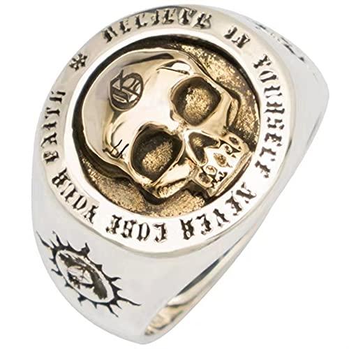 DKANG Wikinger Schmuck, Herren Ring, Viking Warrior Herrenring, Vintage Nordic Viking Wolfskopf Ring, Zweifarbiger Herrenring, Totenkopf Ring, Totem Ring, Schwerer Warhammer Totenkopf Flügel Ring