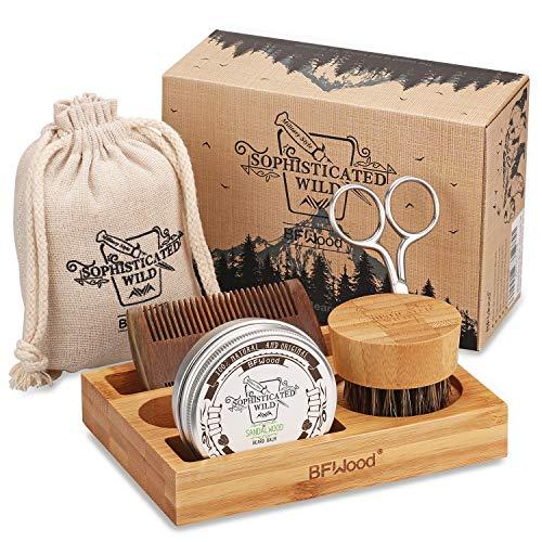 BFWood Bartpflege-Set mit Bambusbox für Männer - Bartbürste, Bartkamm, Schere, Bartbalsam 30g zum Trimmen,...