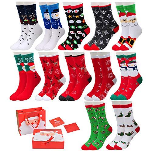 Vertvie 12 Paar Unisex Weihnachtssocken Christmas Socks Weihnachtsmotiv Weihnachten Festlicher Baumwolle Socken Mix Design für Damen und Herren