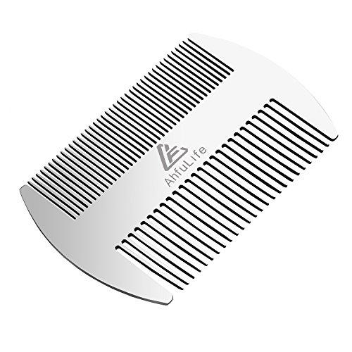 Metallkamm und Bartkamm EDC-Kamm im Kreditkartenformat Perfekt für Brieftasche und Tasche - Antistatischer Bartkamm mit Doppelseitiger Kamm (Edelstahlkamm,silbrig)
